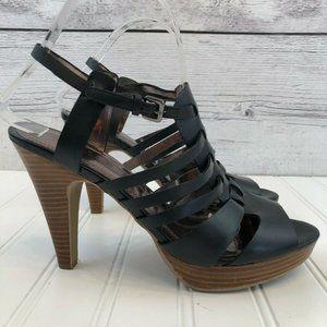 Tahari Tia Black Caged Leather Stilettos Womens 8